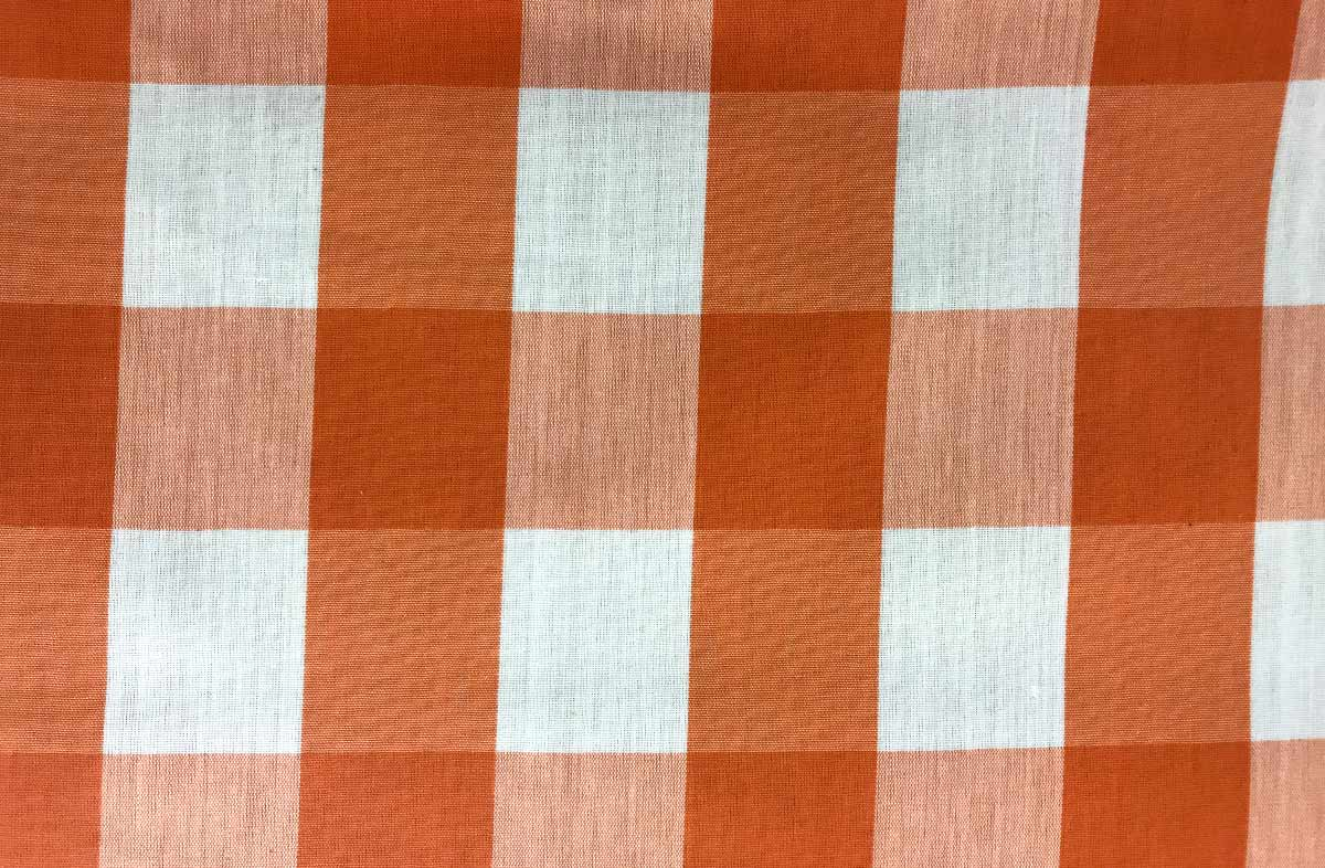 Tangerine Orange  Gingham Oilcloth Fabric |  Wipe Clean Large Check Oilcloth Coated Fabrics