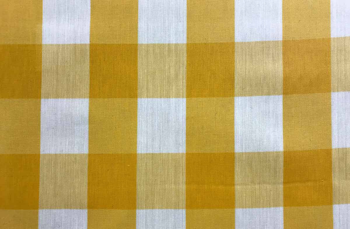 Yellow White Gingham Oilcloth Wipeable Fabrics Large Check