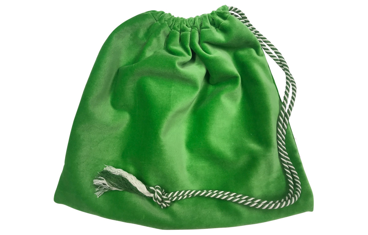 Green Velvet Handbag Pouch with Drawstring
