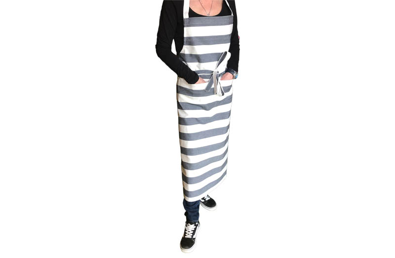 Charcoal Grey and White Striped Aprons