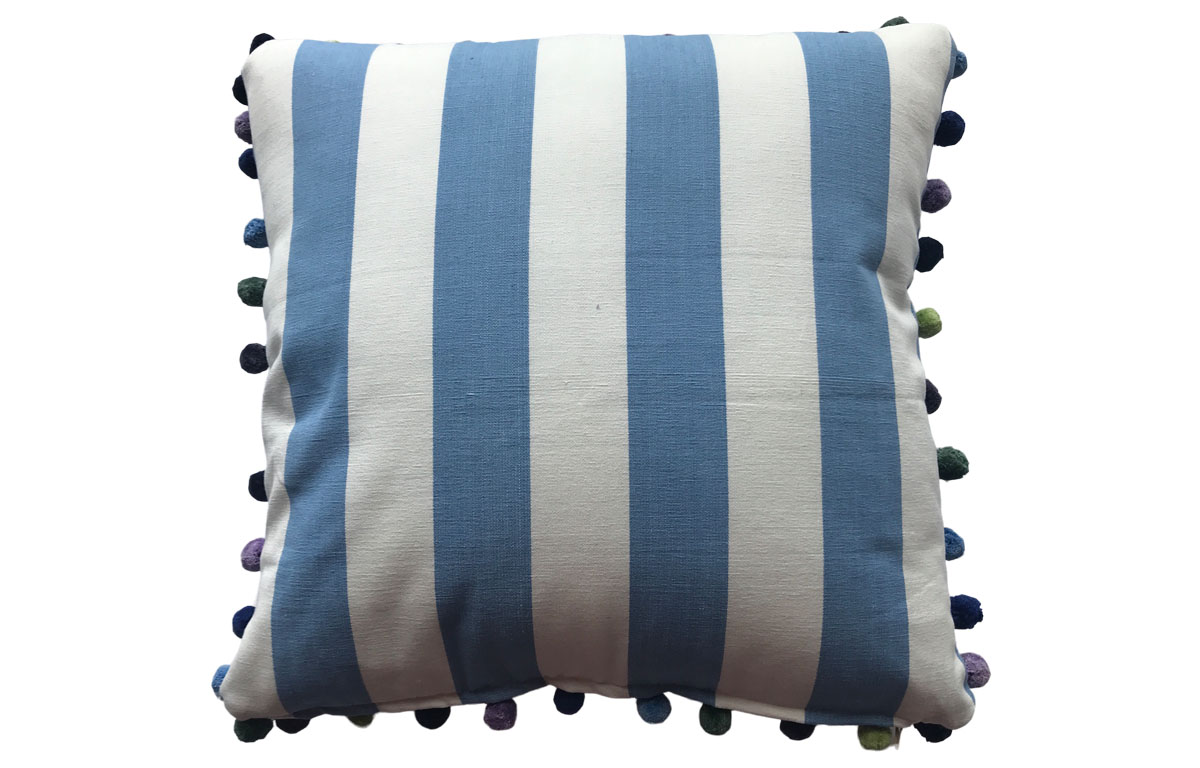Sky Blue and White Striped Pompom Cushions 50x50cm