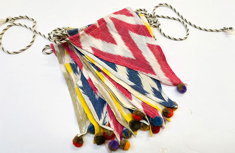 Bunting Ikat Design with Pom Poms Kit