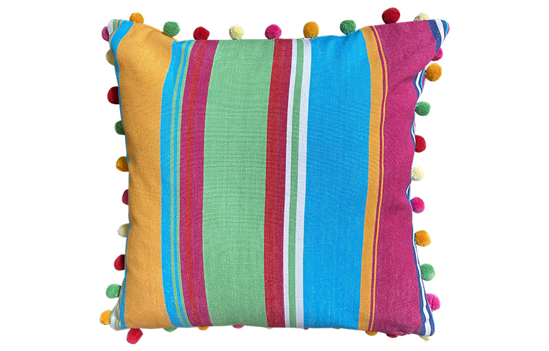 Pink, Yellow and Green Striped Pompom Cushions 50x50cm