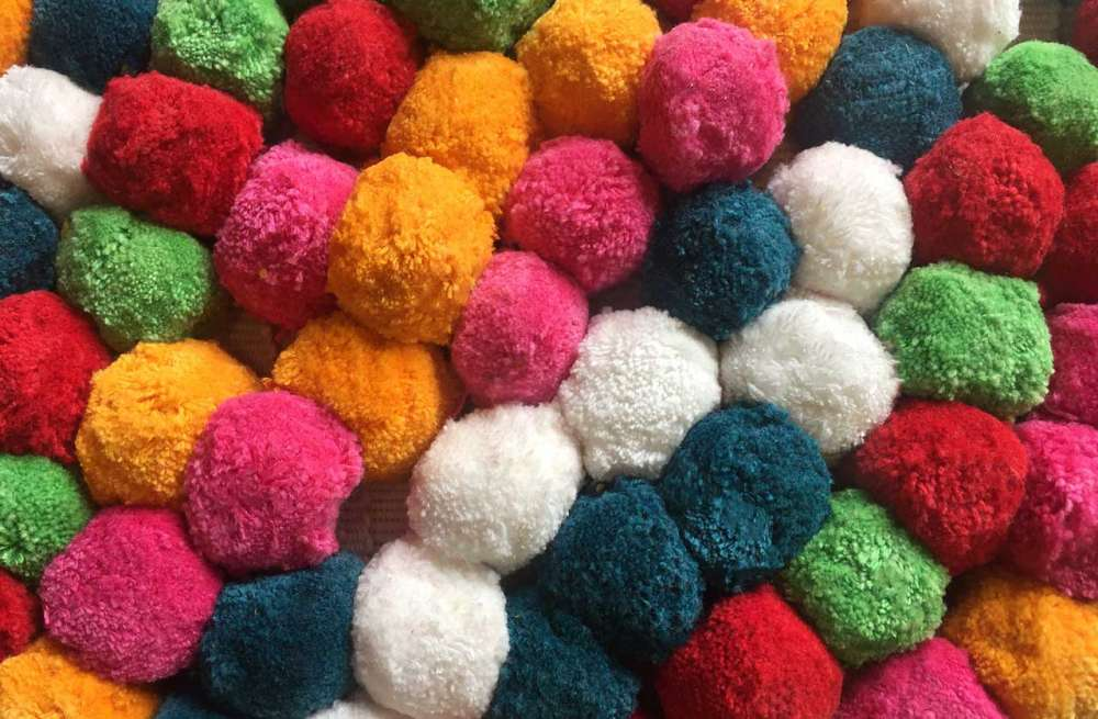 Large Multi Colour Pompom Fringe with Pink, blue, red, orange, green and white pompoms