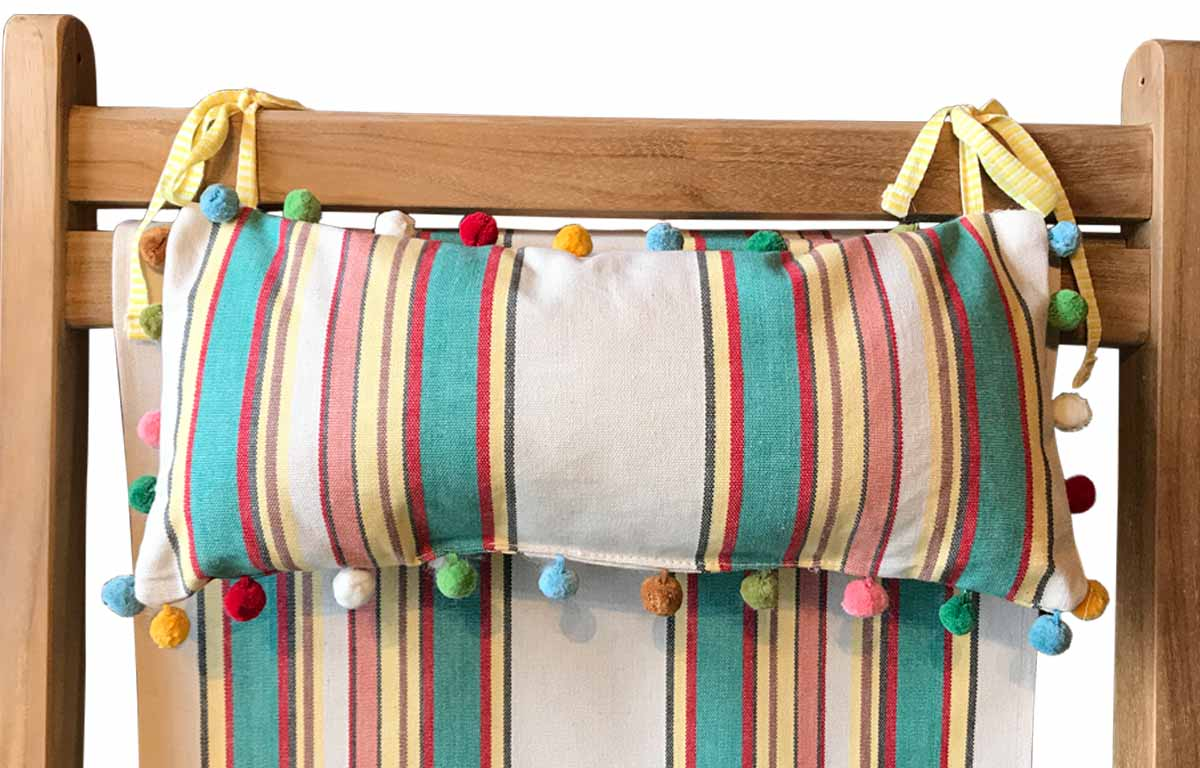 Lido Deckchair Headrest Cushions | Tie on Pompom Headrest Pillow beige, jade green, red
