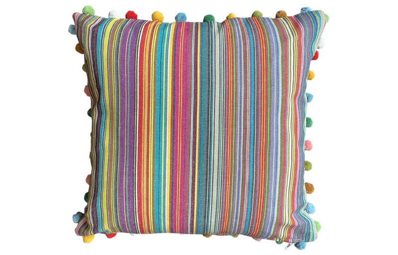 Thin Rainbow Multi Striped Pompom Cushions 50x50cm