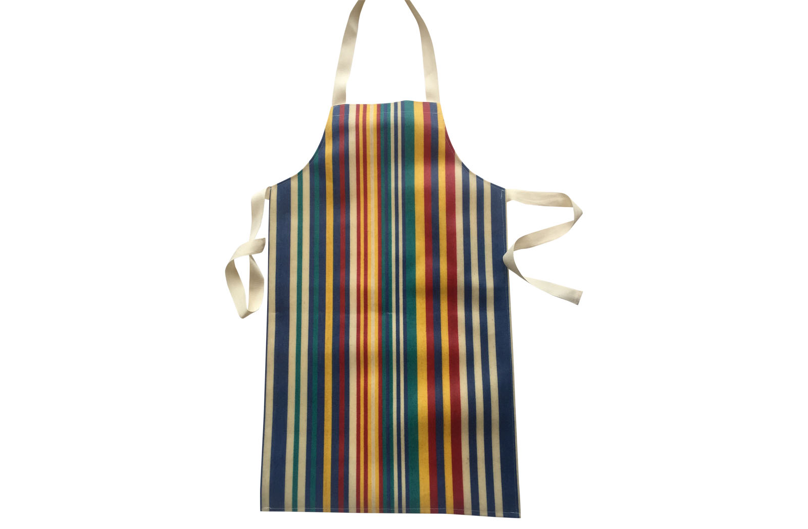 Striped Childs PVC Apron st-ripes of denim blue, turquoise, red and yellow