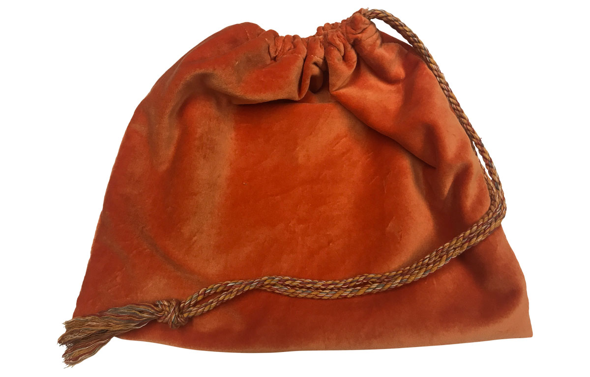 Orange Velvet Handbag Pouches with Drawstring