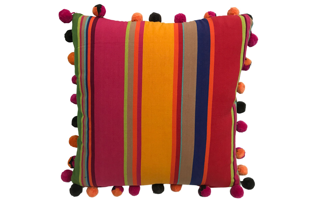Pink, Green and Gold Striped Pompom Cushions 50x50cm