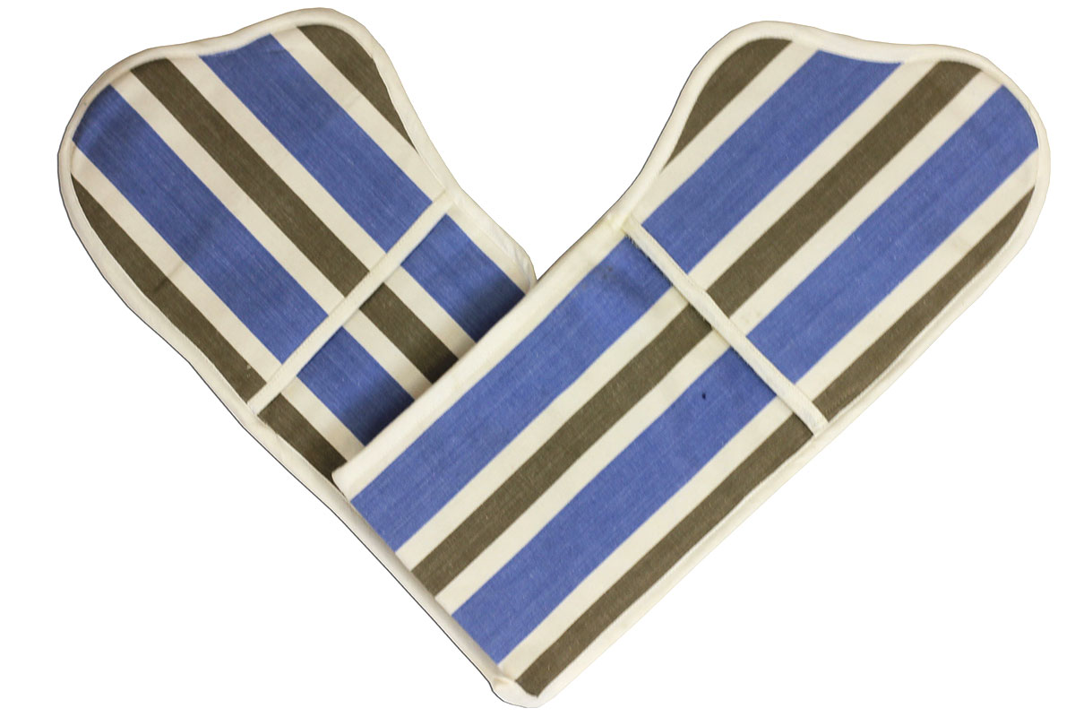 Sky Blue Striped Oven Gloves | Double Oven Mitts Karate Stripes