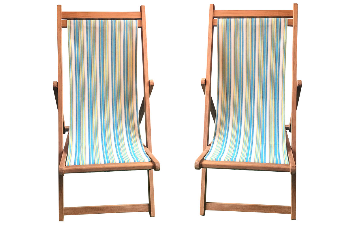 Aquatics Pair of Teak Deckchairs | The Stripes Company Australia