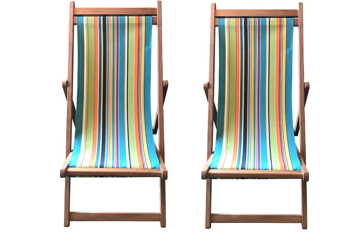 Turquoise, Lime, Navy Stripe Premium Teak Deckchairs | The Stripes Company Australia