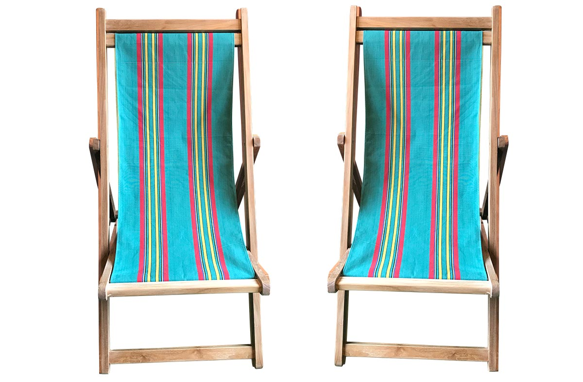 Birdwatching Pair of Teak Deckchairs | The Stripes Company Australia Jade green, red, yellow