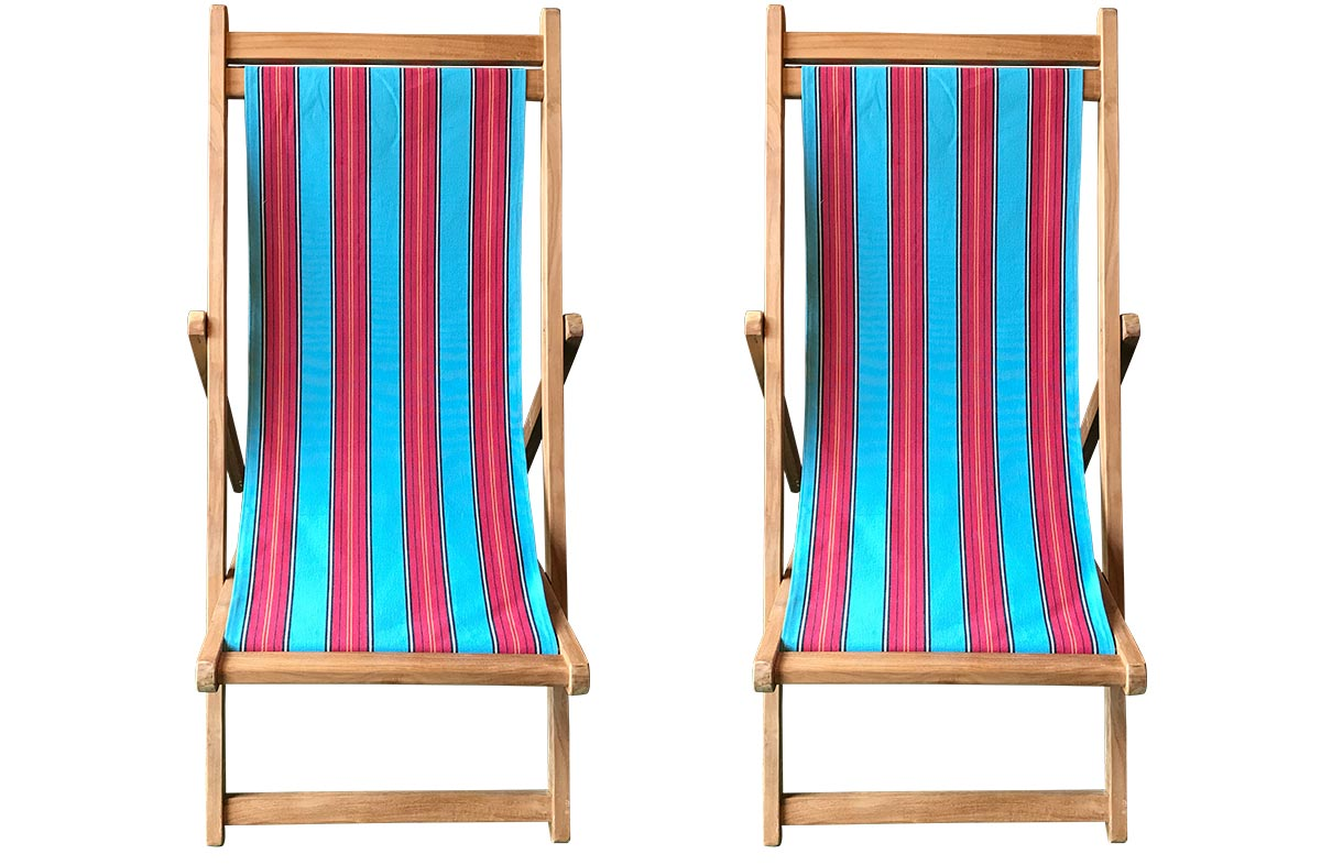 Bobsleigh Pair of Teak Deckchairs | The Stripes Company Australia light blue, red