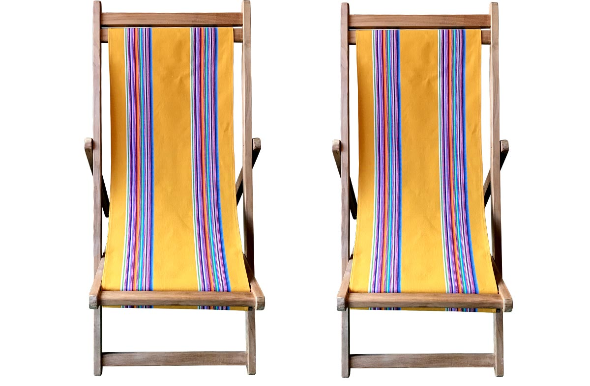 Pair Butterfly Premium Teak Deckchairs | The Stripes Company Australia yellow, rainbow