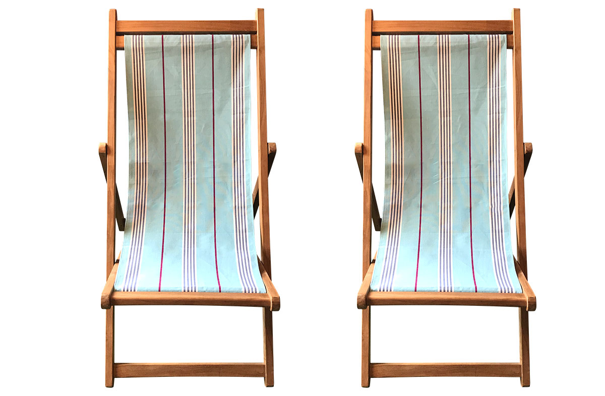 ChaCha Pair of Teak Deckchairs | The Stripes Company Australia