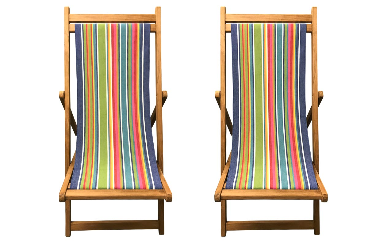 Climbing Pair of Teak Deckchairs | The Stripes Company Australia