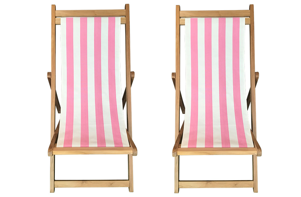 Pink & White Stripe Premium Teak Deckchairs | The Stripes Company Australia