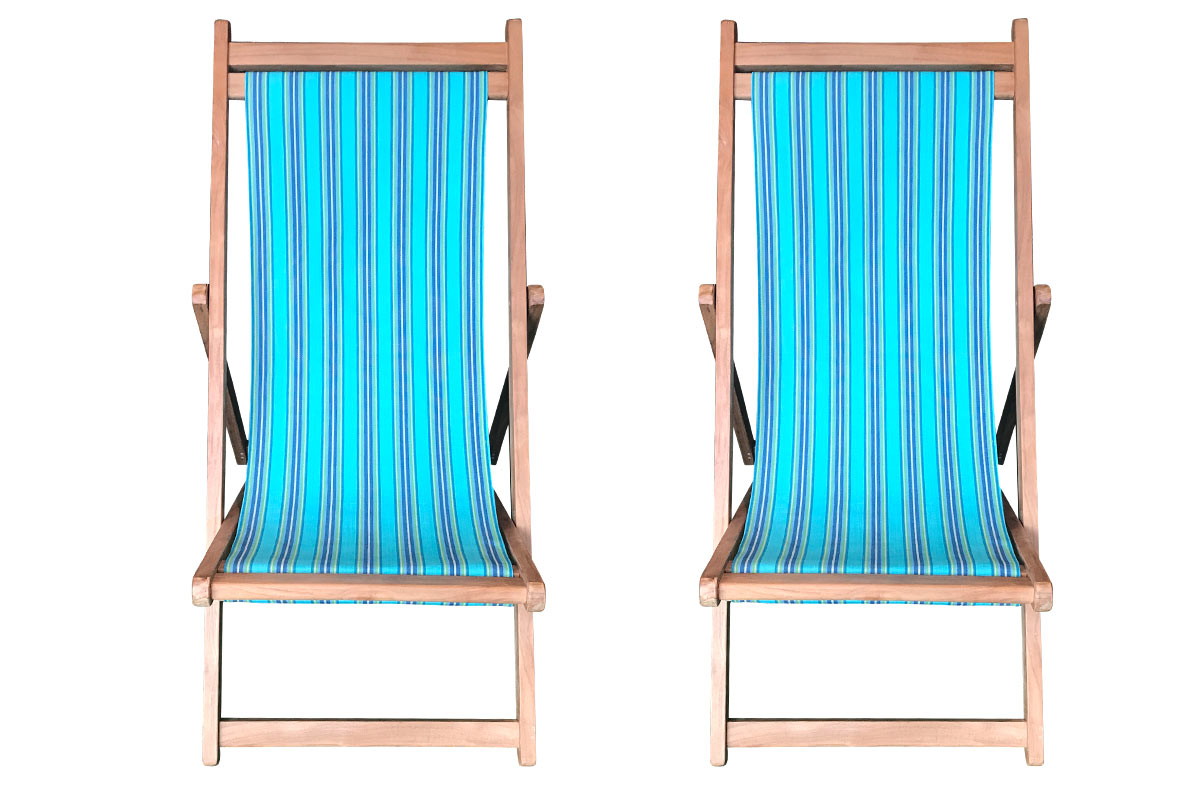 Fencing Pair of Teak Deckchairs | The Stripes Company Australia turquoise, blue, green