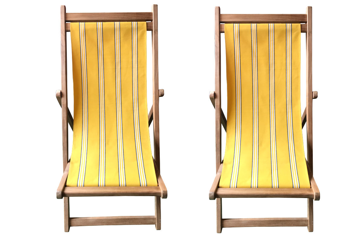 Yellow Stripe Pair of Teak Deckchairs | The Stripes Company Australia yellow, white, black