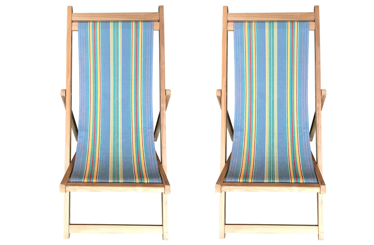 Hula Hoop Pair of Teak Deckchairs | The Stripes Company Australia Sky blue, jade green