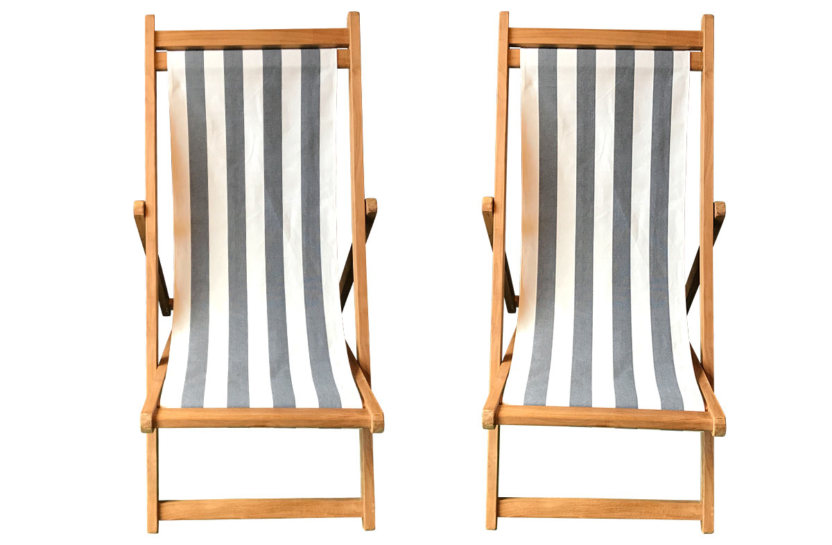 Charcoal & White Stripe Teak Deckchairs | The Stripes Company Australia charcoal, white