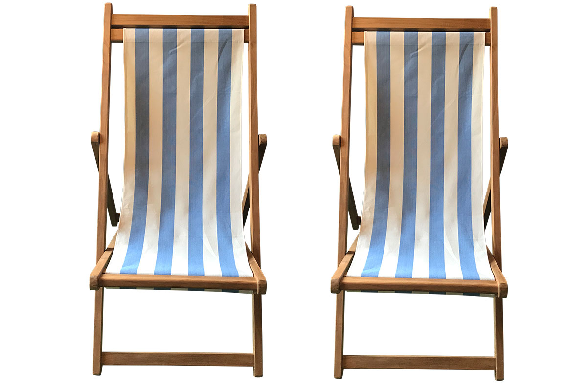 Sky Blue & White Stripe Pair of Teak Deckchairs | The Stripes Company Australia