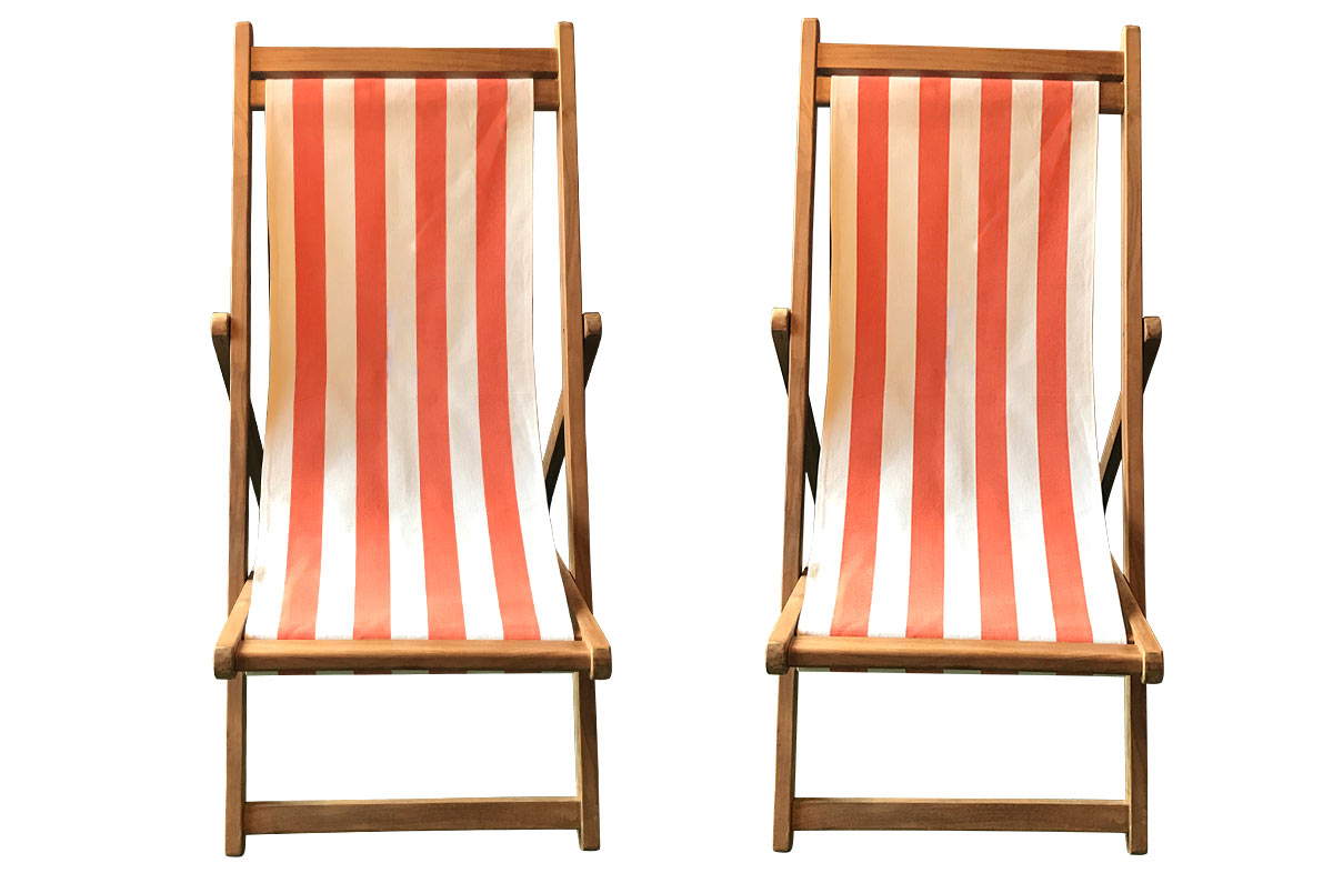 Orange & White Stripe Pair of Teak Deckchairs | The Stripes Company Australia orange white