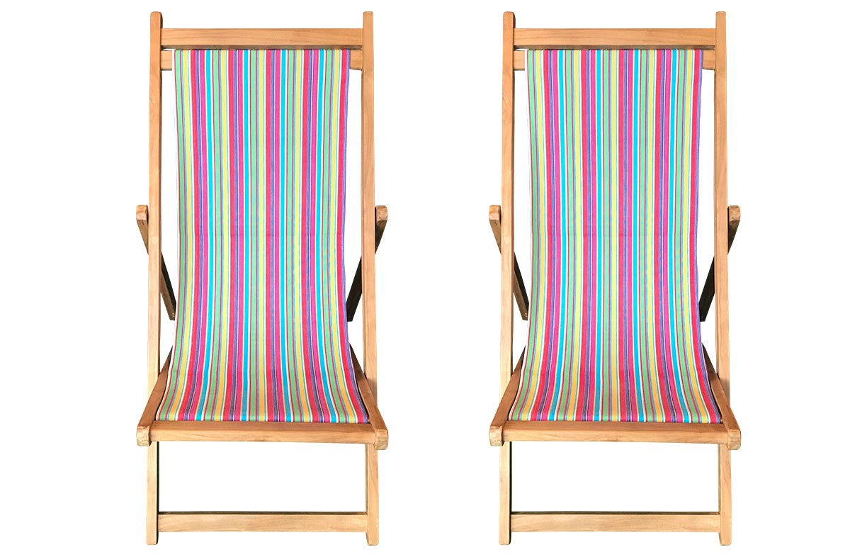 Karting Pink Pair of Teak Deckchairs | The Stripes Company Australia pink, green, yellow
