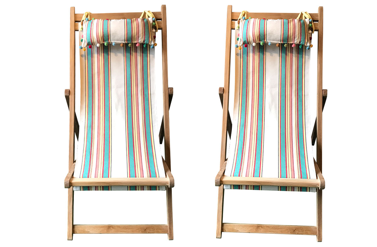 Lido Pair of Teak Deckchairs | The Stripes Company Australia beige, jade green, red