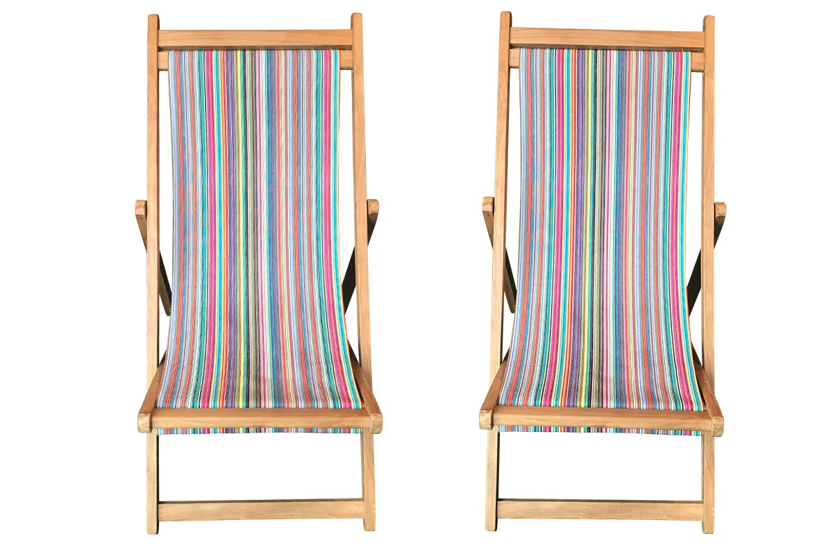 Mahjong Pair of Teak Deckchairs | The Stripes Company Australia thin rainbow multi stripes