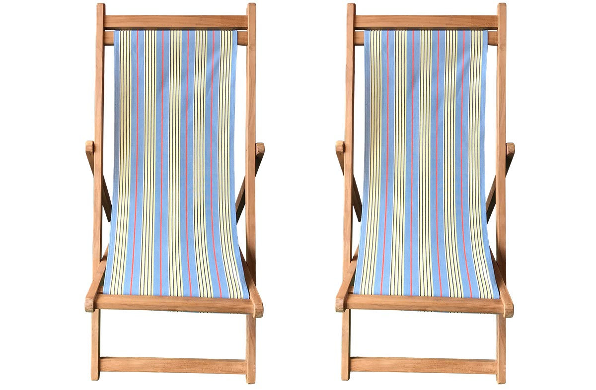 Majorette Pair of Teak Deckchairs | The Stripes Company Australia
