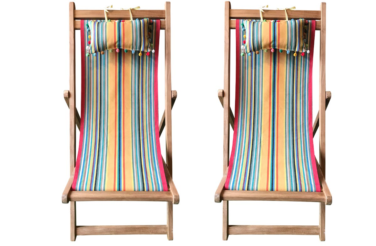 Medley Pair of Teak Deckchairs | The Stripes Company Australia - medley of colours in narrow stripes