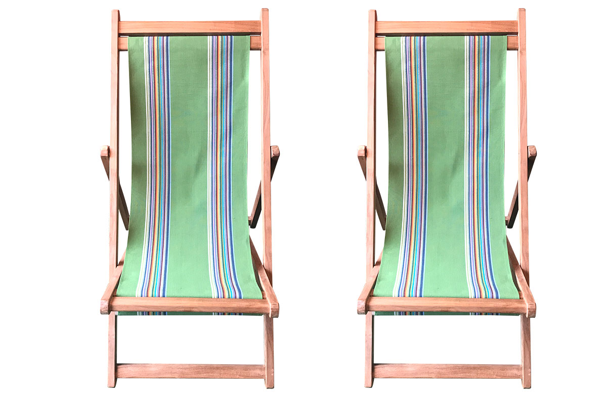 Green Teak Deckchairs | The Stripes Company Australia