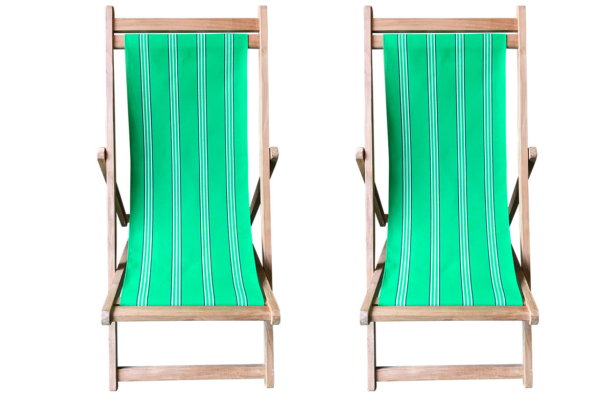 Emerald Green Stripe Teak Deckchairs | The Stripes Company Australia