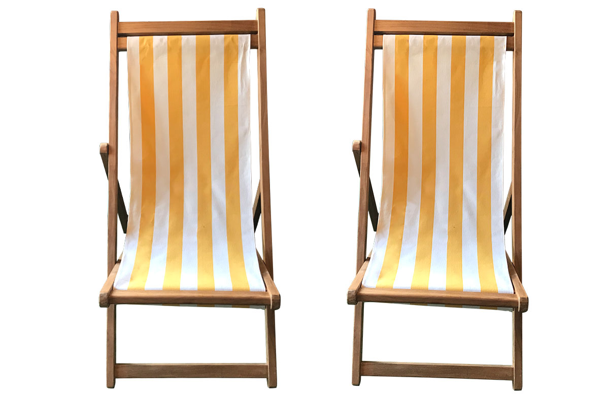 Yellow & White Stripe Teak Deckchairs | The Stripes Company Australia yellow, white