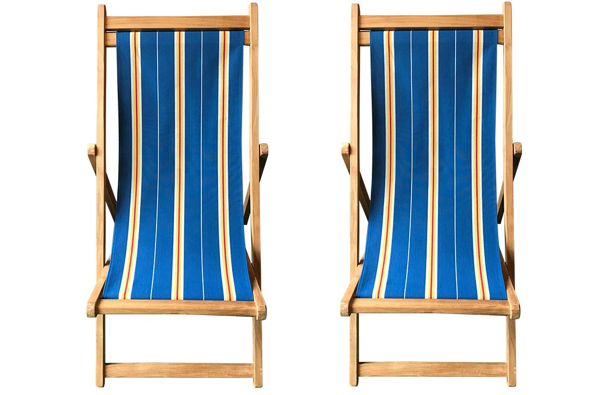 Navy Blue Stripe Pair of Teak Deckchairs | The Stripes Company Australia