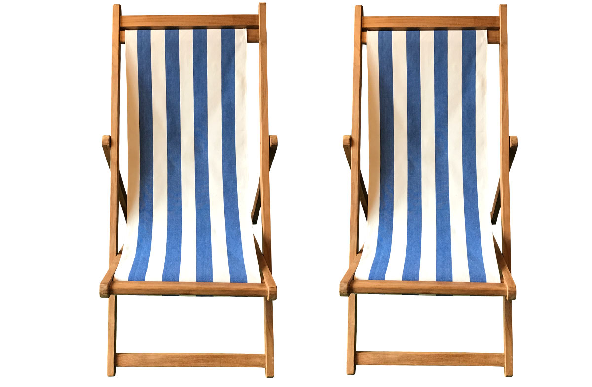 Blue & White StripeTeak Deckchairs | The Stripes Company Australia