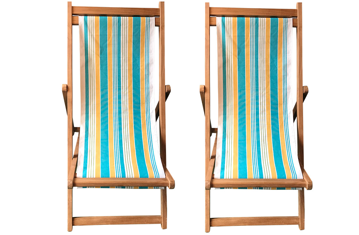 Softball Pair of Teak Deckchairs | The Stripes Company Australia