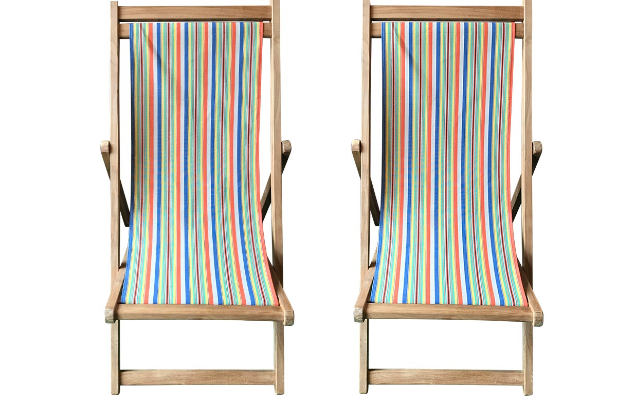 Pair of dark blue, beige, orange stripe Teak Deckchairs | The Stripes Company Australia