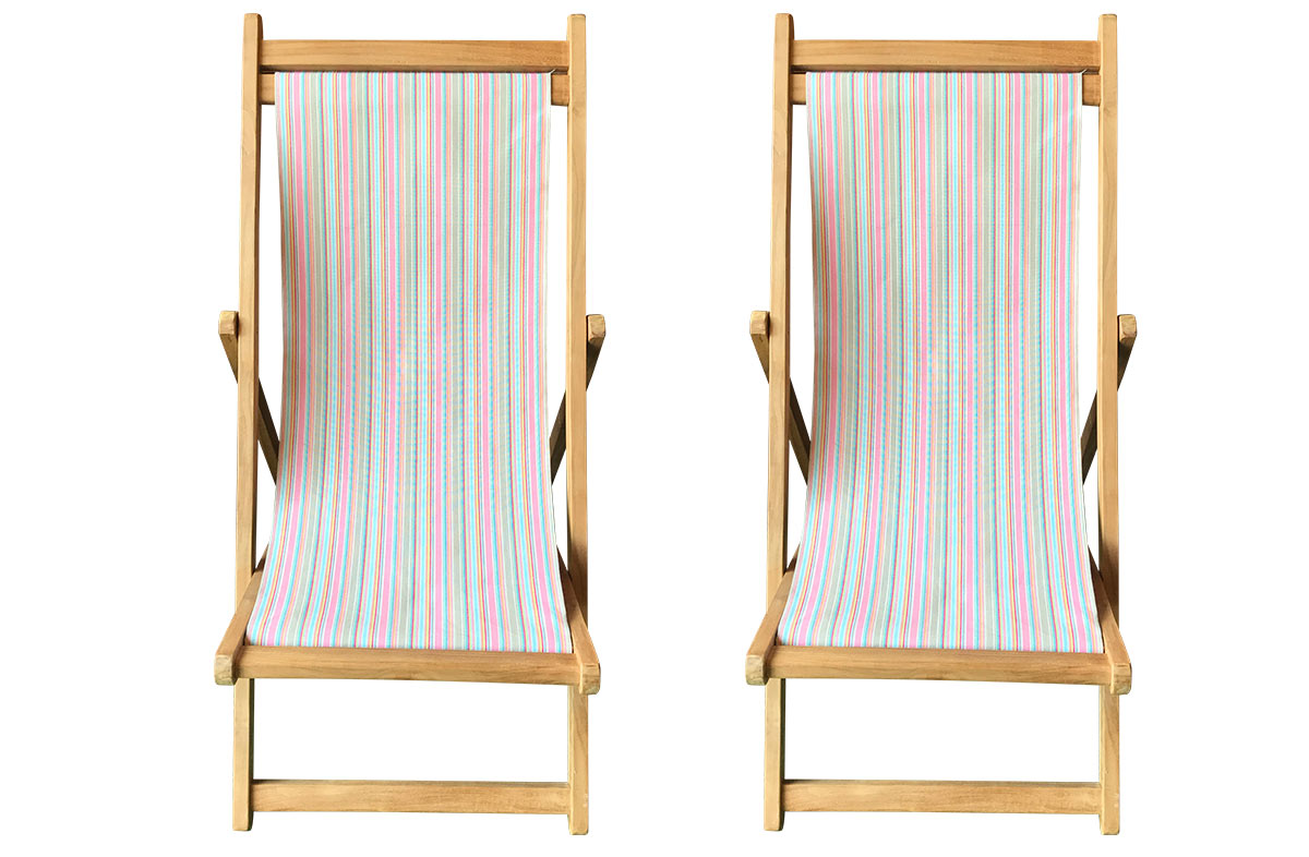 Pretty Pink Stripe Teak Deckchairs | The Stripes Company Australia pink, taupe, blue