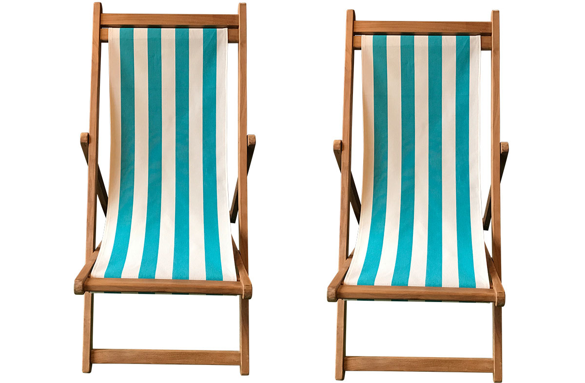 Turquoise & White Stripe Pair of Teak Deckchairs | The Stripes Company Australia