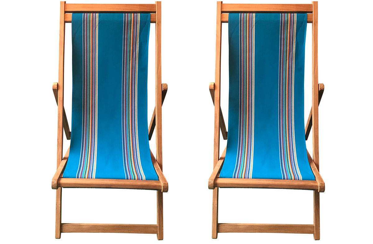 Dark Turquoise Stripe Teak Deckchairs | The Stripes Company Australia