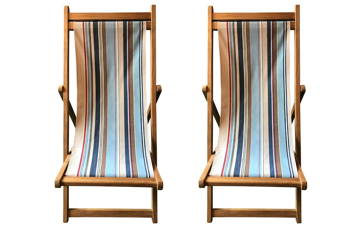 Teak Deckchairs with pale blue, beige, royal blue slings | The Stripes Company Australia