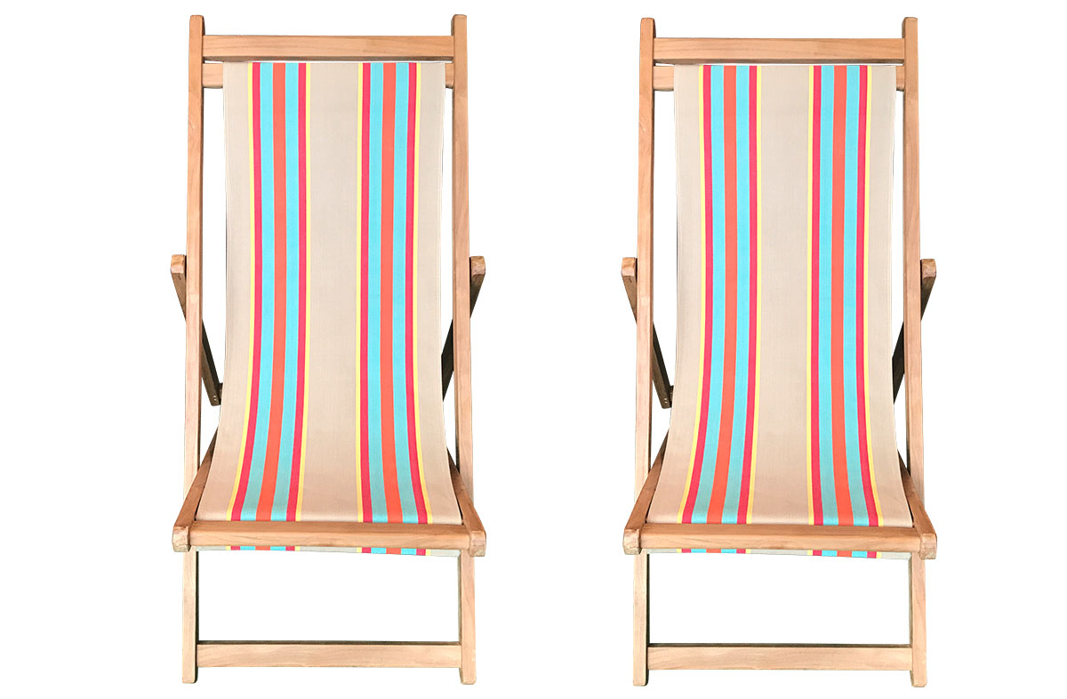 Dice Pair of Teak Deckchairs | The Stripes Company Australia fawn, terracotta, turquoise