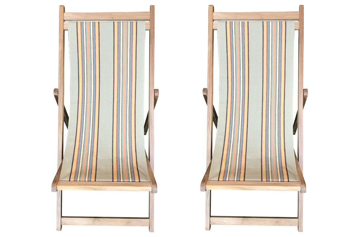 Vintage Kickball Teak Deckchairs | The Stripes Company Australia