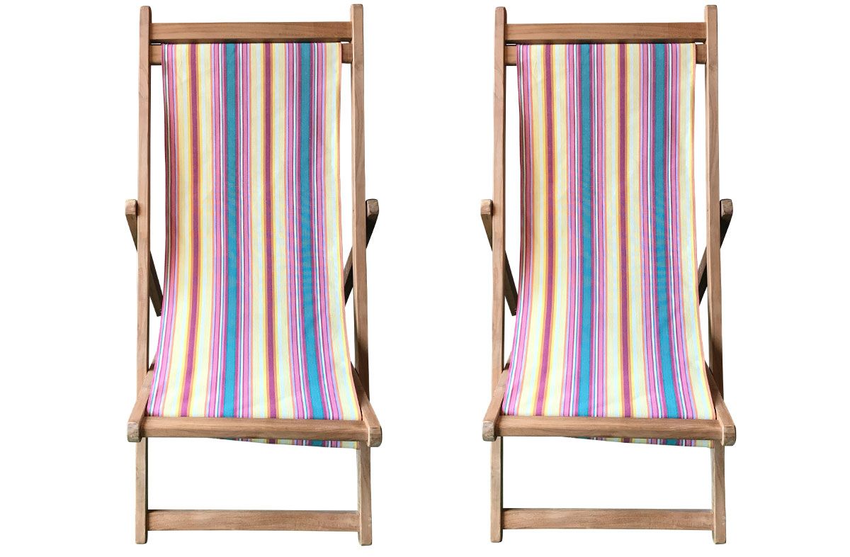 Pair of Robust Teak Deckchairs | The Stripes Company Australia