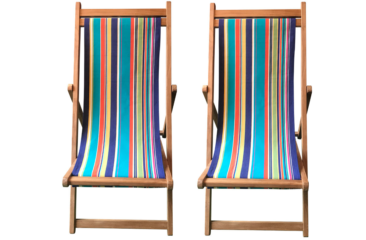 Yachting Pair of Teak Deckchairs | The Stripes Company Australia turquoise, pale green, royal blue