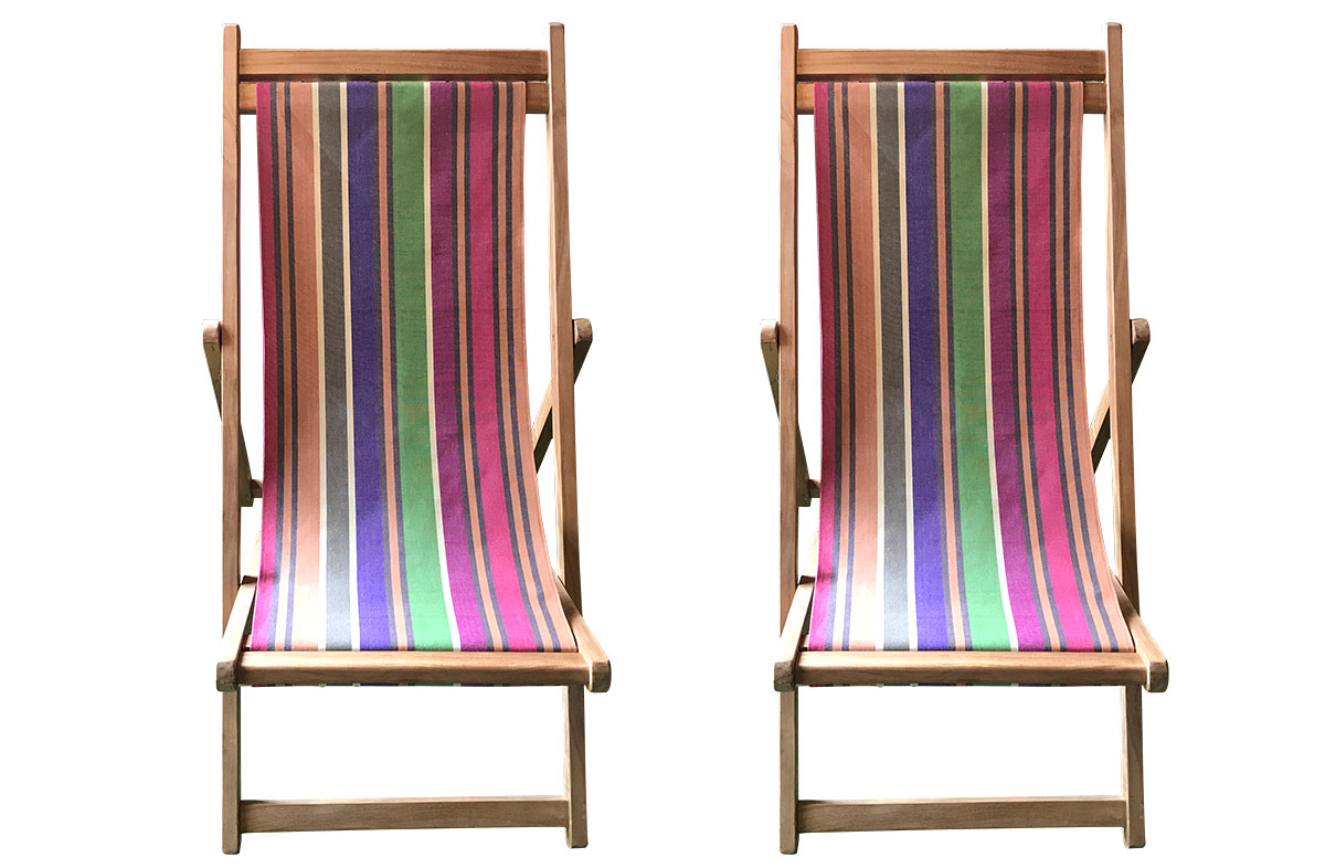 Pair of premium Teak Deckchairs with striped covers in a neutral earthy fabric