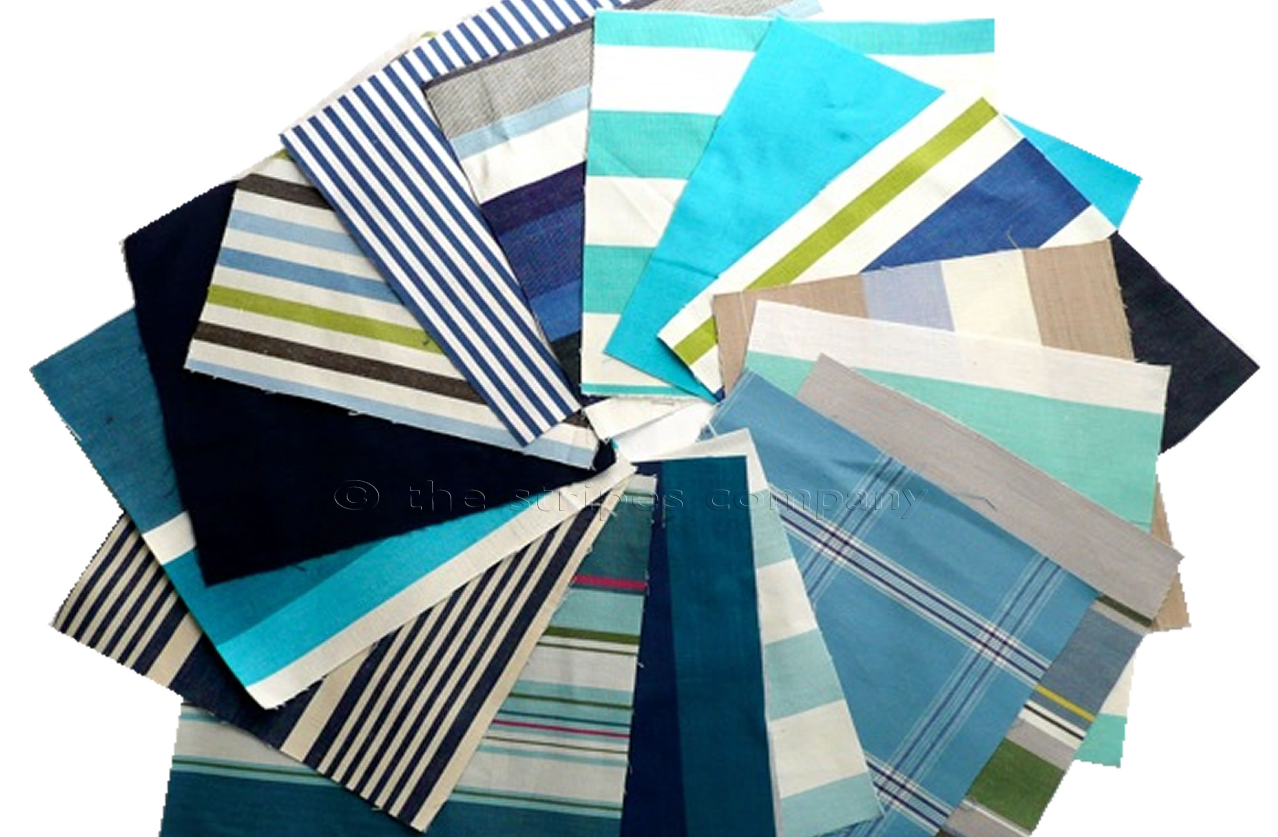 blue- Striped Cotton Fabric Squares | Patchwork Fabric Squares | Quilting Fabric Squares